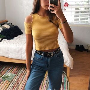 forever 21 yellow striped cold shoulder crop top
